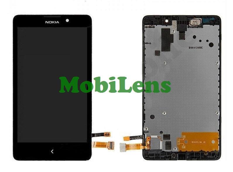 Nokia XL Dual, RM-1030 Дисплей+тачскрин(модуль) черный в рамке