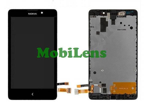 Nokia XL Dual, RM-1030 Дисплей+тачскрин(модуль) черный в рамке, фото 2