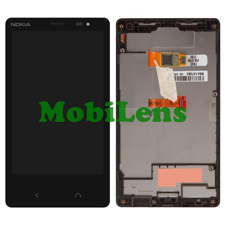 Nokia X2 Dual, RM-1013 Дисплей+тачскрин(модуль) черный *в рамке