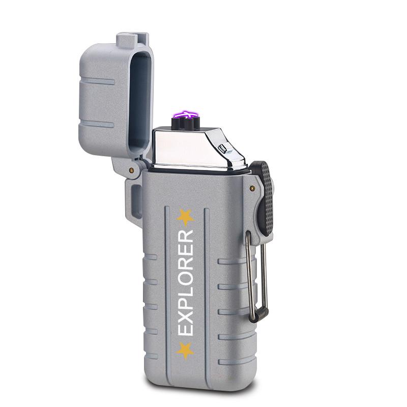 Вологозахищена електроімпульсна запальничка SUNROZ DK-8039 Explorer акумуляторна USB Срібний (SUN3814)