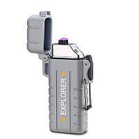 Вологозахищена електроімпульсна запальничка SUNROZ DK-8039 Explorer акумуляторна USB Срібний (SUN3814), фото 1
