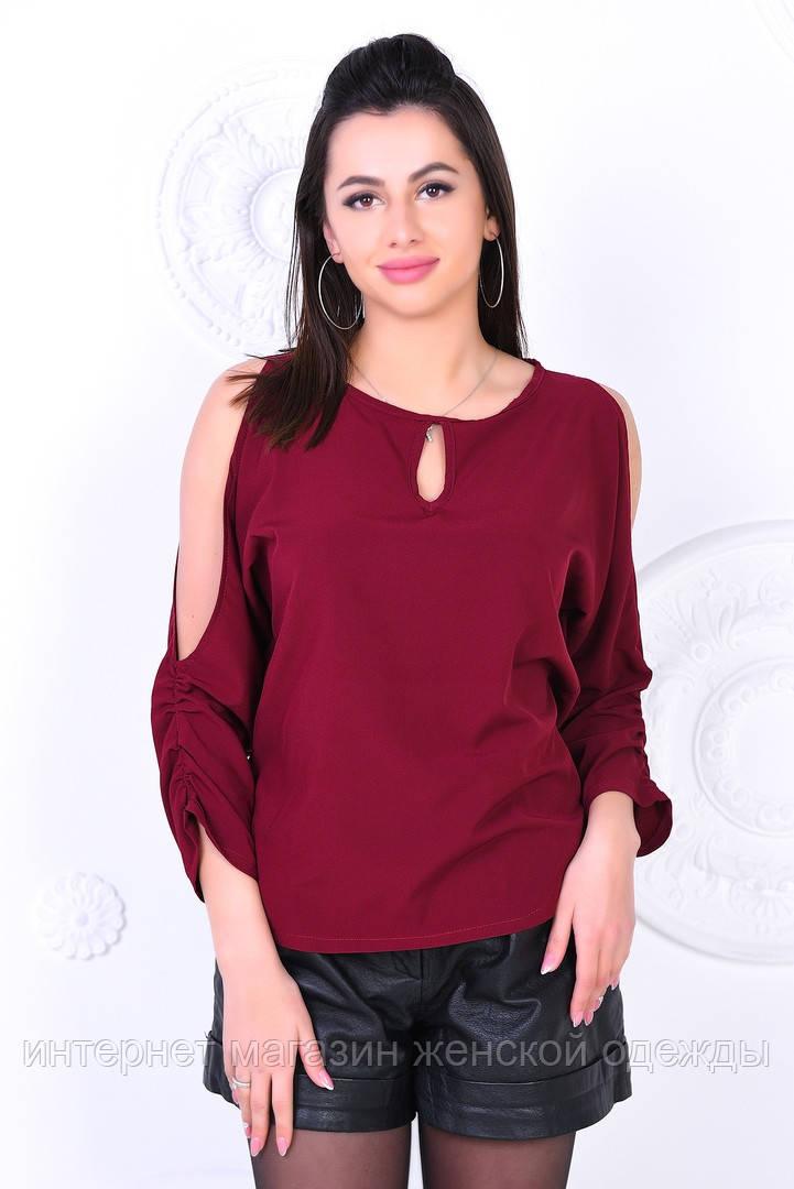 Стильная однотонная женская блузка благородного цвета марсала