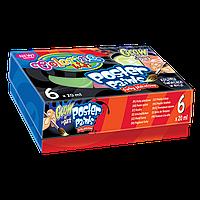 Краски гуашевые флуоресцентные Colorino 6 цветов 20 мл в картонной упаковке 4 стандартных цвета + 2 светящихся