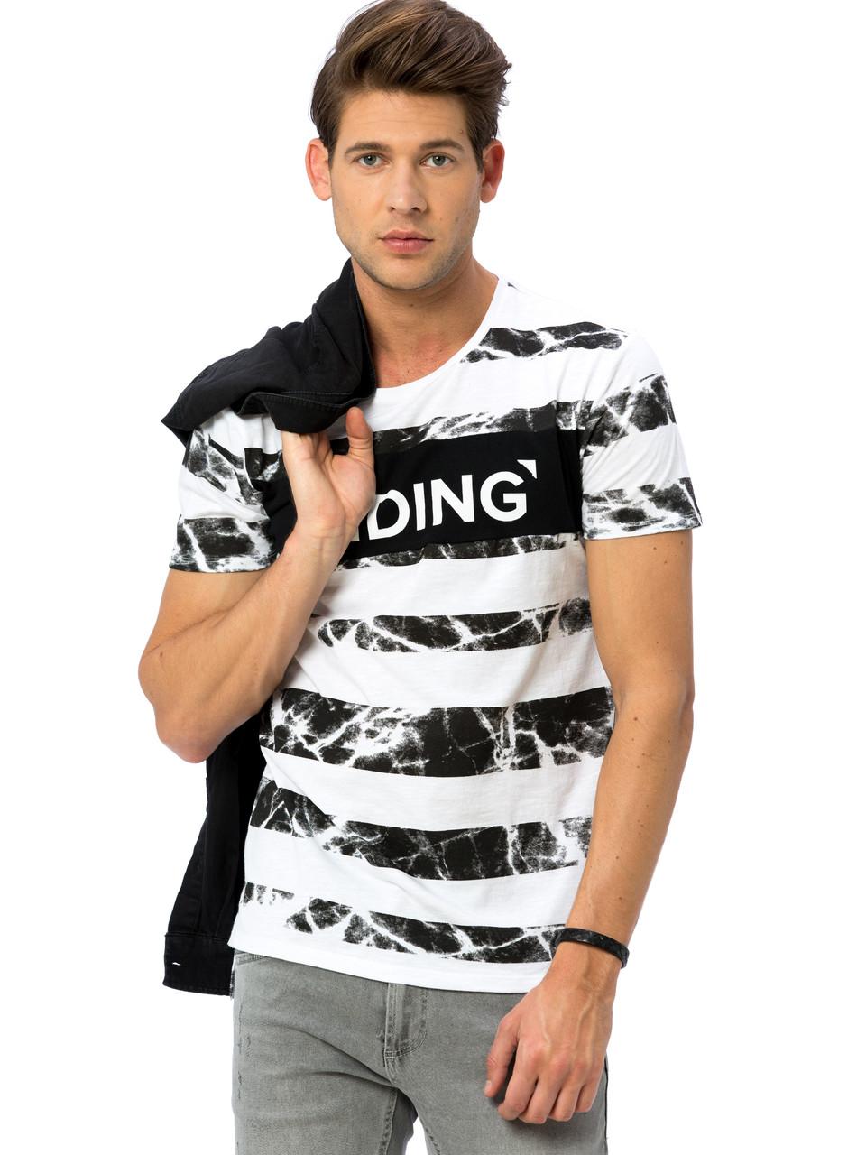 Белая мужская футболка Lc Waikiki / Лс Вайкики в мраморную полоску Hiding