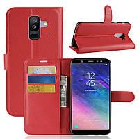 Чехол-книжка Litchie Wallet для Samsung A605 Galaxy A6 Plus 2018 Красный