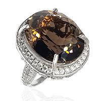 Серебряное кольцо с дымчатым кварцем 005 размер 17.75
