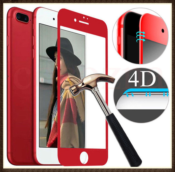 Защитное стекло 4D Apple iPhone 7 Plus, iPhone 8 Plus red Zool