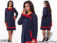 Оригинальное трикотажное платье с контрастными вставками с 48 по 58 размер, фото 1