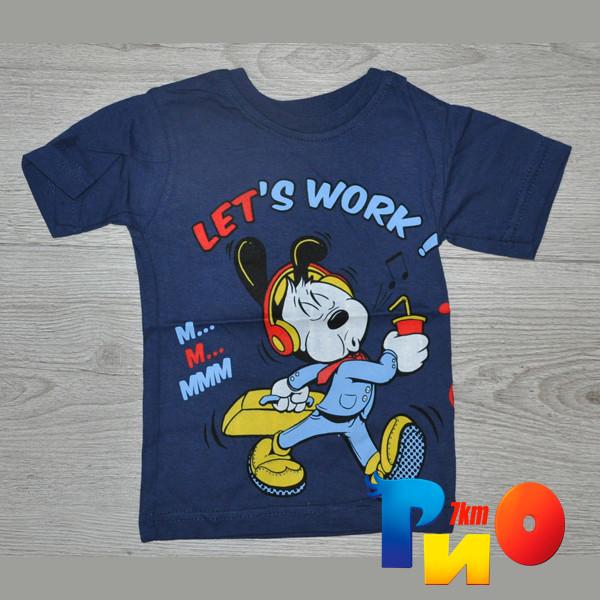 """Летняя футболка """"Let's work"""", трикотаж, для мальчика(0-1;1-2;2-3;3-4 лет), 4 ед.в уп."""