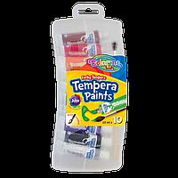 Краски темперные в тубах Пластиковый контейнер с кисточкой 10  цветов стандартные цвета 10 мл Colorino