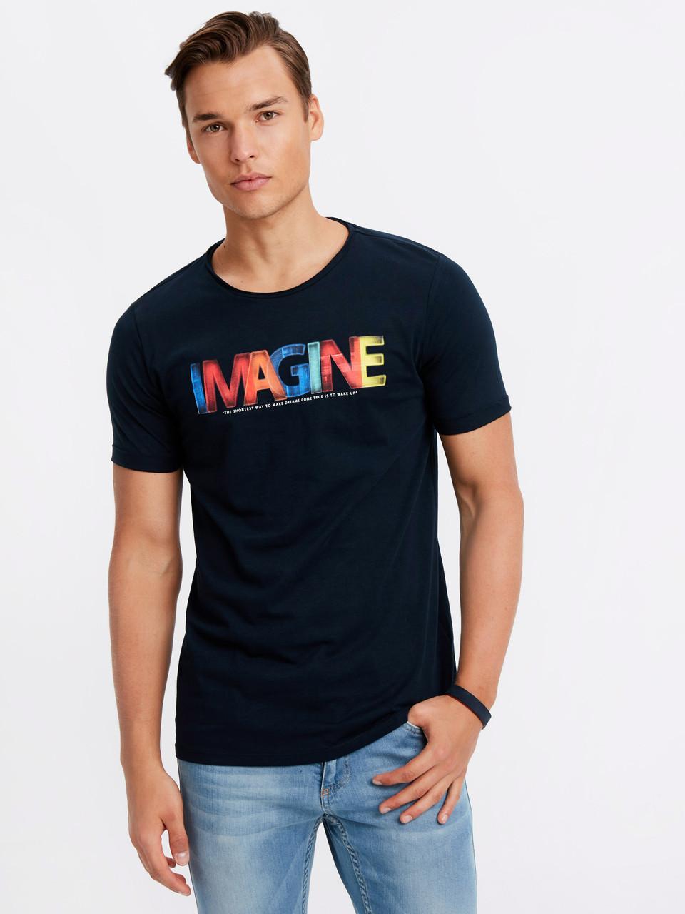 Синяя мужская футболка Lc Waikiki / Лс Вайкики с надписью Imagine