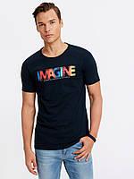 Синяя мужская футболка Lc Waikiki / Лс Вайкики с надписью Imagine, фото 1