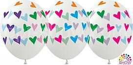 """Воздушные шары """"Сердца цветные на прозрачном"""" 12""""(30 см) пастель ассорти В упак: 100шт ТМ Арт «SHOW» GR-8"""