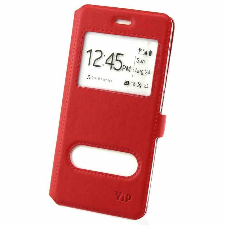 Чехол-книжка ViP 2 окна Samsung S6 Edge G925 красный