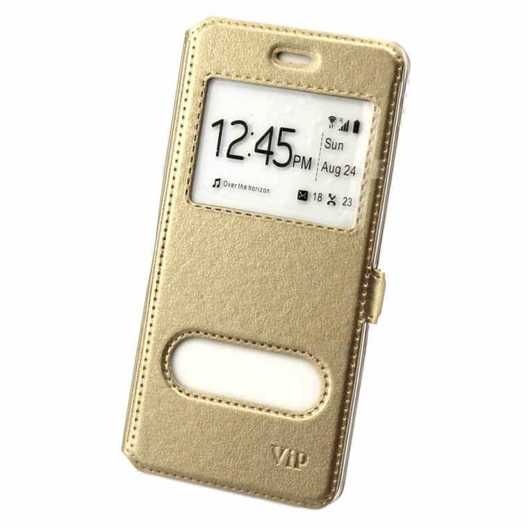Чехол-книжка ViP 2 окна Samsung S4 i9500 золотистый
