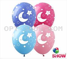 """Воздушные шары """"Месяц и звёзды"""" 12""""(30 см) В упак: 100шт ТМ Арт «SHOW»"""