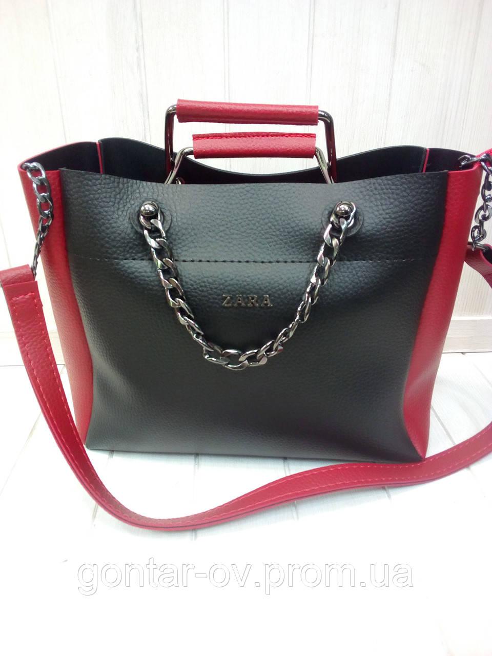Женская сумка Zara черно-красная