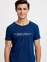 Синяя мужская футболка Lc Waikiki / Лс Вайкики с надписью California Storm Rider, фото 1