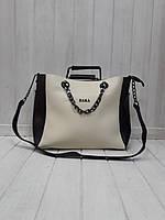 Женская сумка Zara кремовая с черным, фото 1