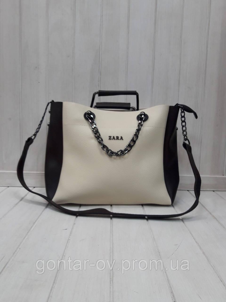 Женская сумка Zara кремовая с черным