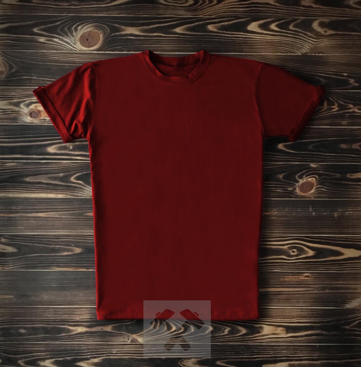 Мужская футболка из хлопка бордовая