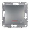 Кнопка Звонок с подсветкой самозажимные контакты Сталь Schneider Asfora plus (EPH1700162)