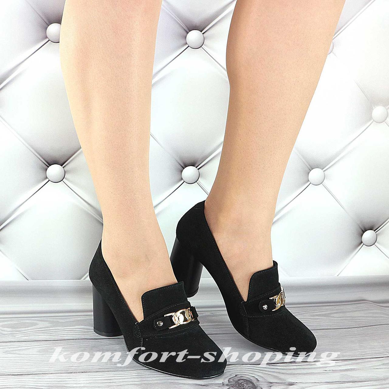 Туфли  женские  замшевые, черные  V 1236
