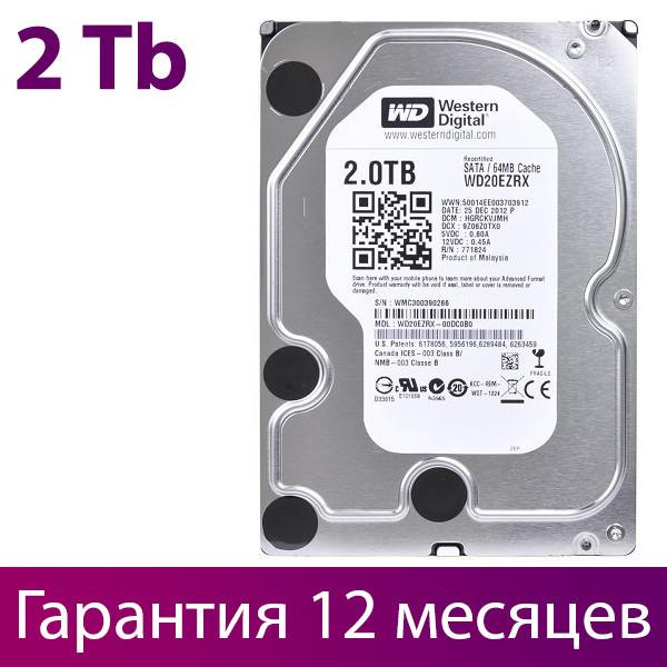 """Жорсткий диск для комп'ютера 3.5"""" 2 Тб/Tb Western Digital, SATA3, 64Mb, IntelliPower (WD20EZRX), вінчестер hdd"""