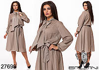 Шифоновое платье в мелкий горошек с воротником бантом с 48 по 58 размер, фото 1