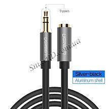 AUX 3.5mm удлинитель Ugreen AV118 аудио кабель (Чёрным с серебристым), фото 2