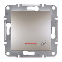 Кнопка Звонок с подсветкой самозажимные контакты Бронза Schneider Asfora plus (EPH1700169), фото 1