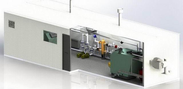 Блочная модульная котельная на твердом топливе БМ-А-0.0.0.0. Автоматическая загрузка.