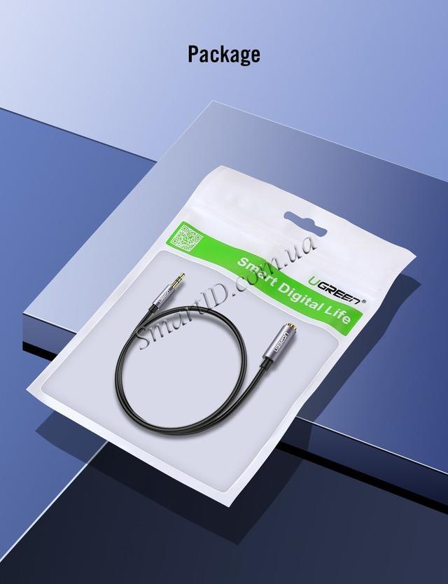AUX 3.5mm удлинитель Ugreen AV118 аудио кабель Чёрным с серебристым наконечником 0.5м 1м 2м 3м 5м