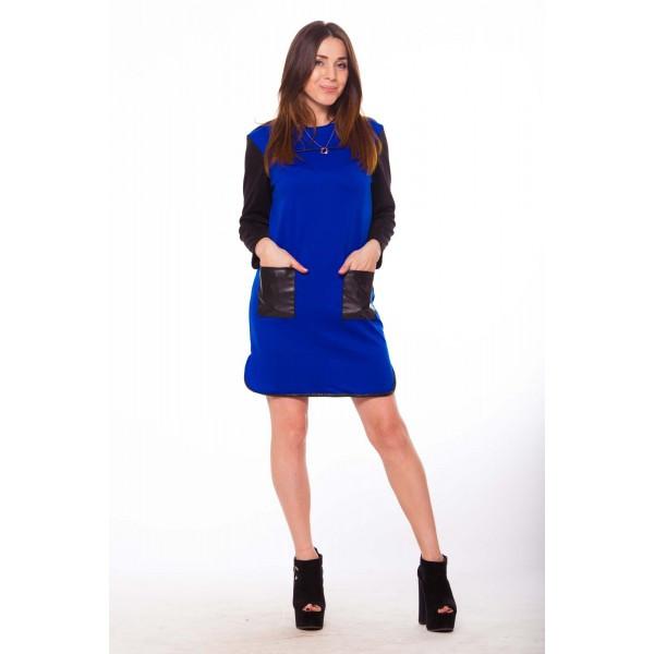 Платье с карманами и кожаными вставками