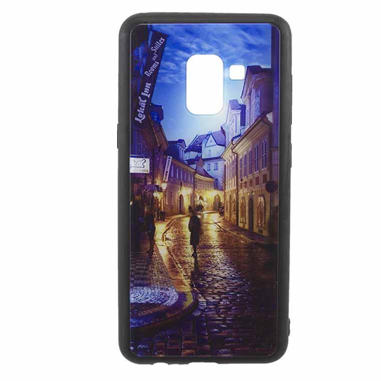 Чехол накладка Glass Case New Samsung A8 2018 A530 переулок