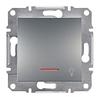 Кнопка «Свет» с подсветкой самозажимные контакты Сталь Schneider Asfora plus (EPH1800162)