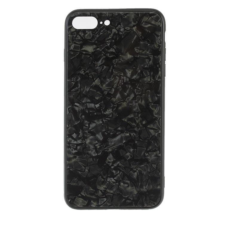 Чехол накладка Glass Case Мрамор Apple iPhone 7 Plus, 8 Plus черный