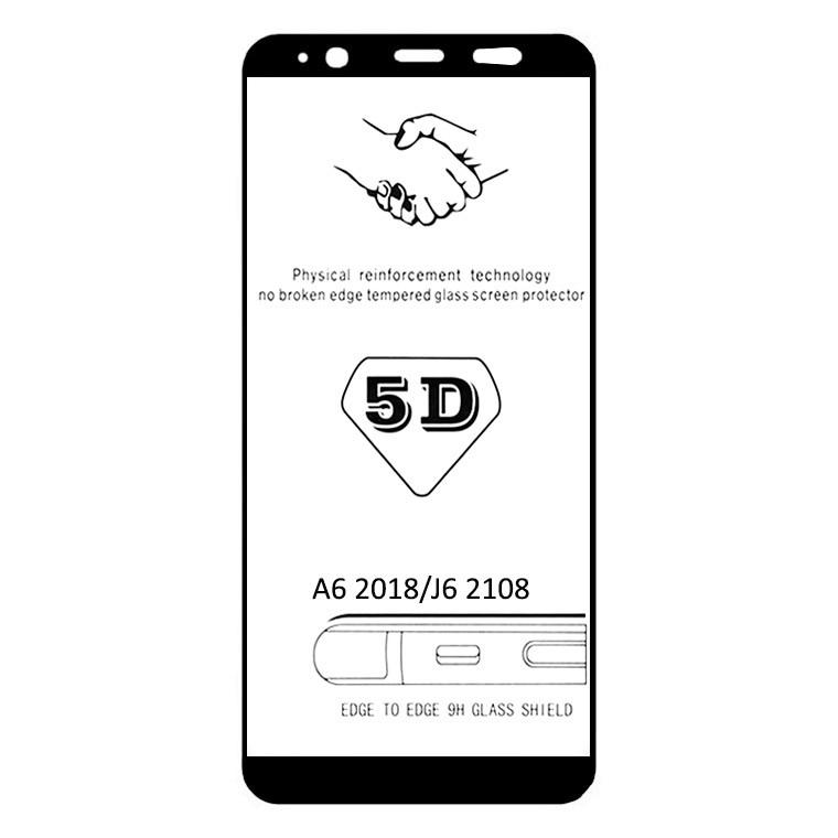 Защитное стекло 5D Samsung A6 2018 A600, J6 2018 J600 black тех.пакет