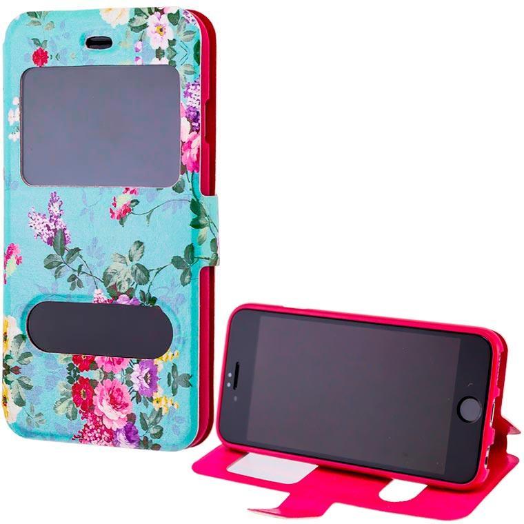 Чехол-книжка Flower Case 2 окна Samsung S7 Edge G935 Tea-rose turquoise