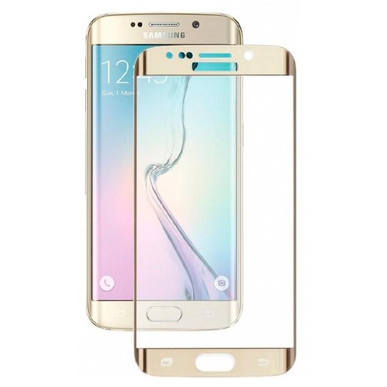 Защитное стекло 3D Samsung S6 Edge G925 gold тех.пакет