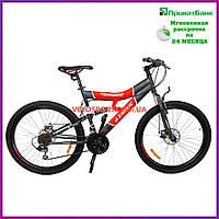 Горный велосипед Azimut Tornado 26 D серо-красный