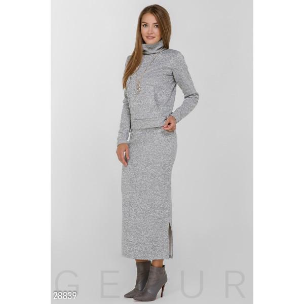 Костюм двойка: юбка миди и кофта кенгурушка (Светло-серый)