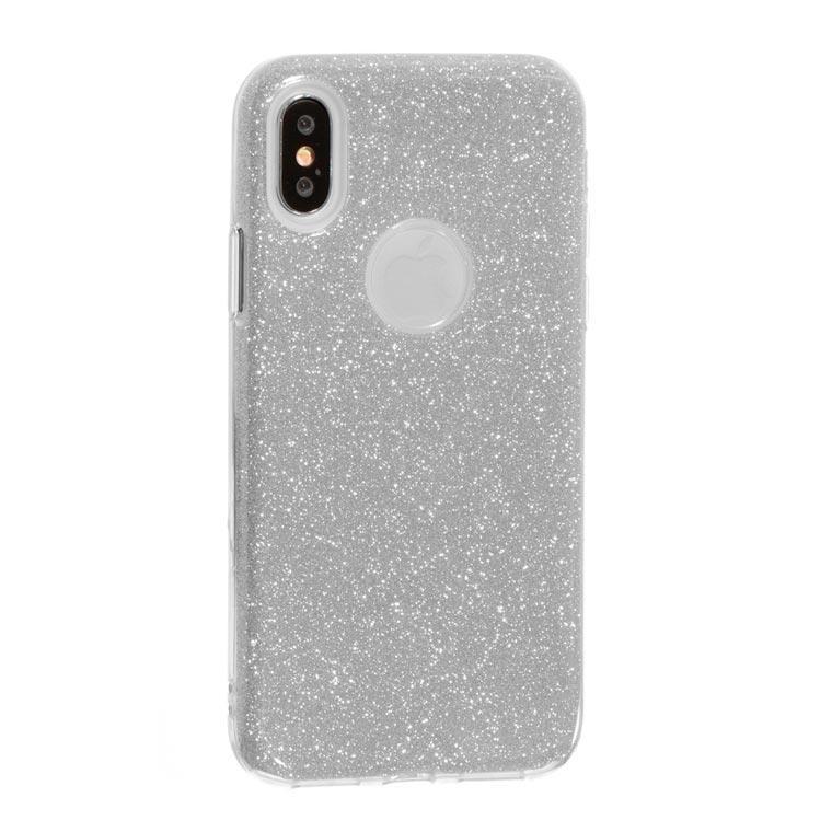 Чехол силиконовый Shine Apple iPhone X, XS серебристый