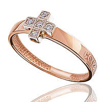 Золотое кольцо с цирконами, в форме креста, красное золото, КД0274 Eurogold