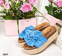 641acc384 Шлепки шлепанцы женские голубые замшевые на толстой подошве, платформе,  летние, лето, из замши, замша