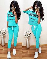 """Жіночий літній Костюм """"Moschino"""" з прямою футболкою (42,44,46,48 - 425грн 50,52,54 -480грн.), фото 1"""