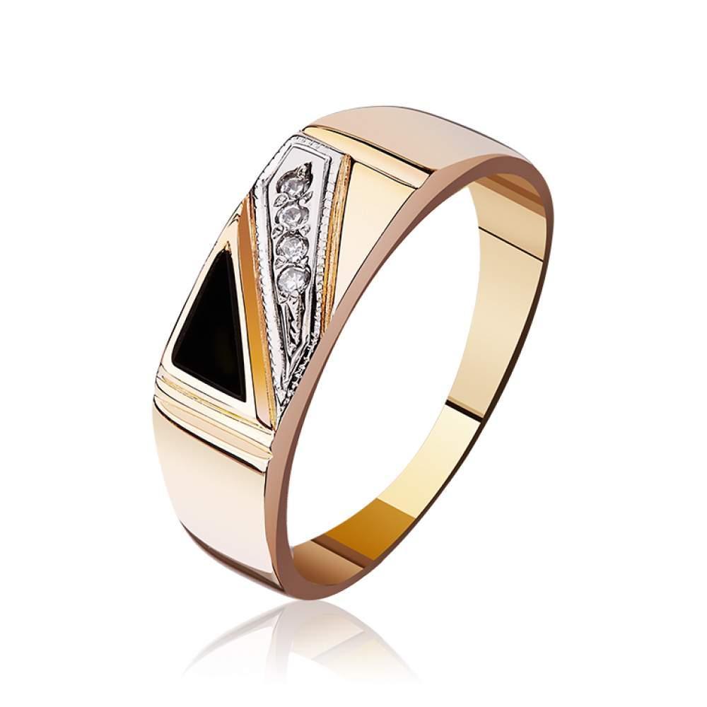 Золотая печатка с треугольным агатом и цирконами, КП047 Eurogold