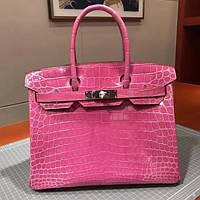 9a2f6f158866 Хит Женская сумка Кожа Alligator Hermes Birkin Гермес Биркин 35 см Розовая Original  quality