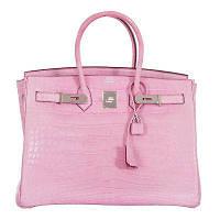 ab215dfc3ecb Хит Женская сумка Кожа Alligator Hermes Birkin Гермес Биркин 35 см бледно  розовая Original quality