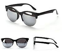 Очки солнцезащитные в ретро стиле - глаза кошечки, оправа ободковая цвет серебро, эеркальные линзы, фото 1